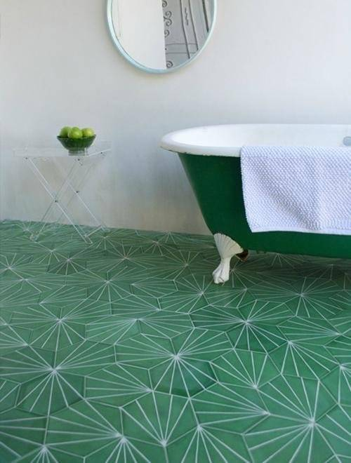 green tiles bathroom floor