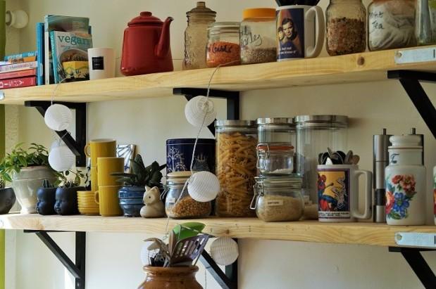 open shelves in ikea kitchen using scaffolding boards planks