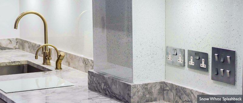 glass and marble kitchen splashback white
