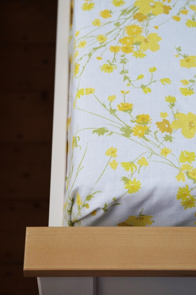 vintage bed sheets yellow spring like