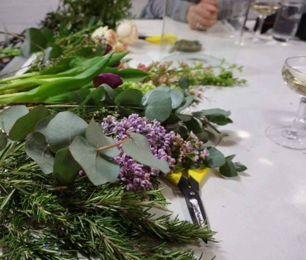 preparing flowers for hand tied