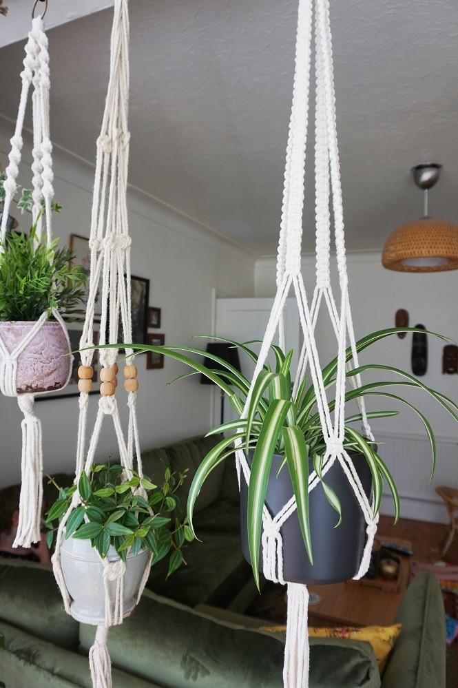 macrame for a bohemian plant hanger