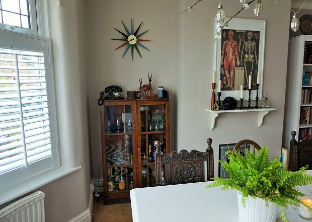 vintage dining room shutters midcentury eclectic bohemian home