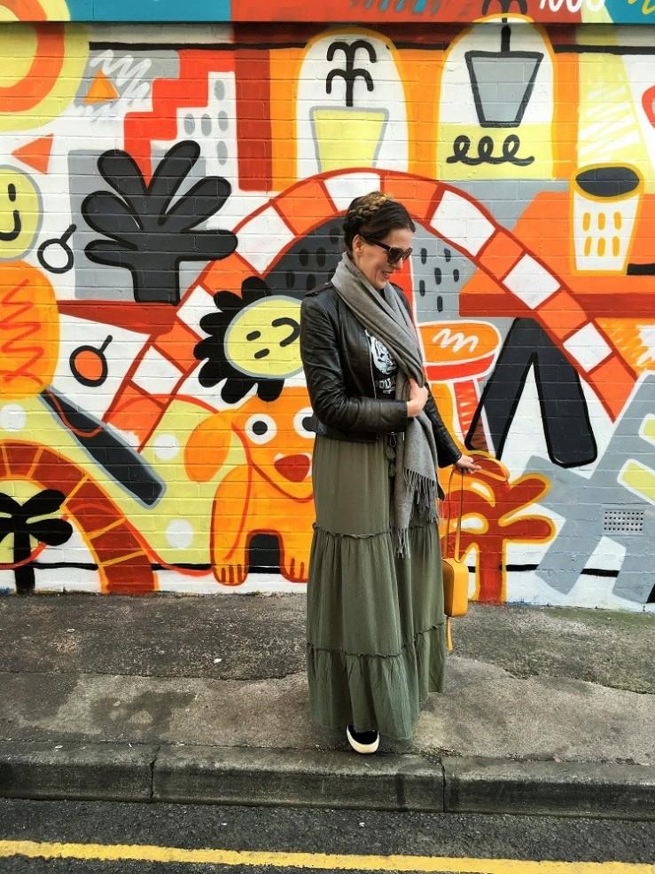 maxi skirt leather jacket