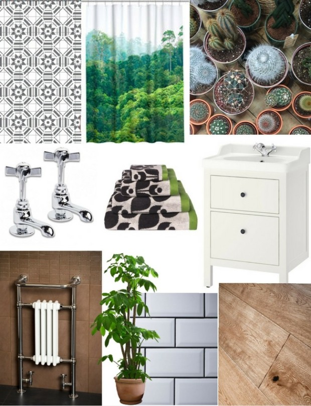green wood plants and vintage white bathroom moodboard