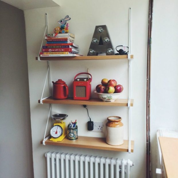 #shelfie ikea EKBY GÄLLÖ kitchen shelves above radiator