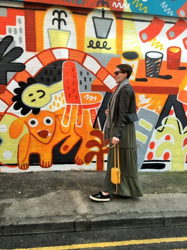 strideby khaki maxi skirt manchester street art hare street northern quarter