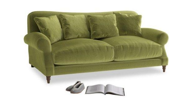 loaf green velvet sofa cosy greenery