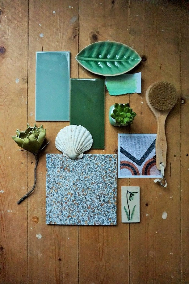 vintage victorian tiles mood board green bathroom idea