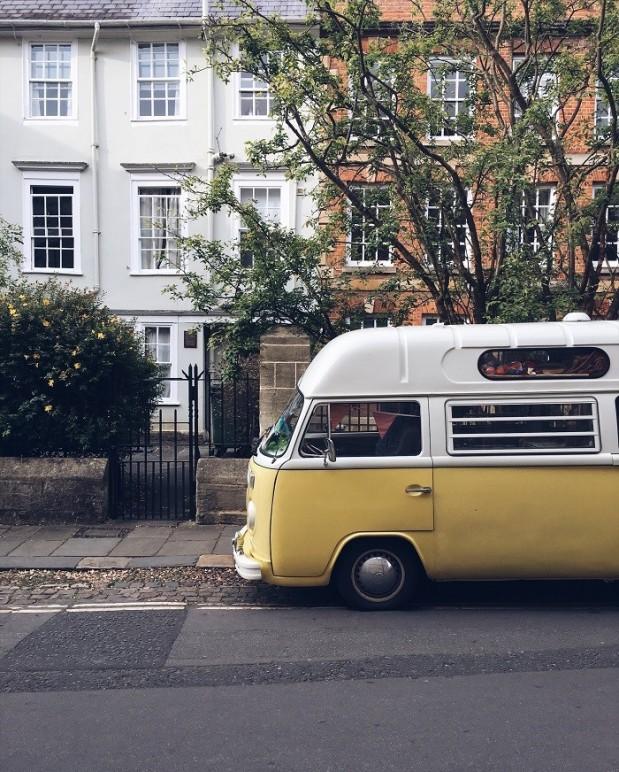vintage yellow vw camper van