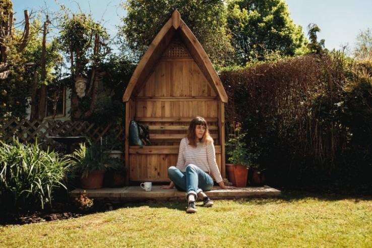 arbour in bohemian english country garden