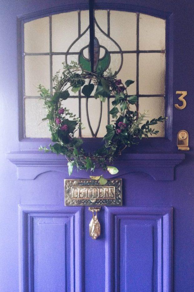 purple painted front door with valspar
