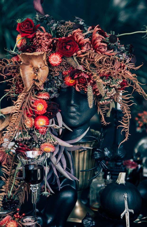 black skull table centrepiece floral