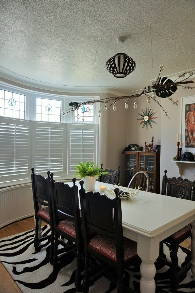 shutters closed vintage antique dining room