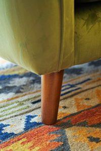 green velvet corner sofa midcentury