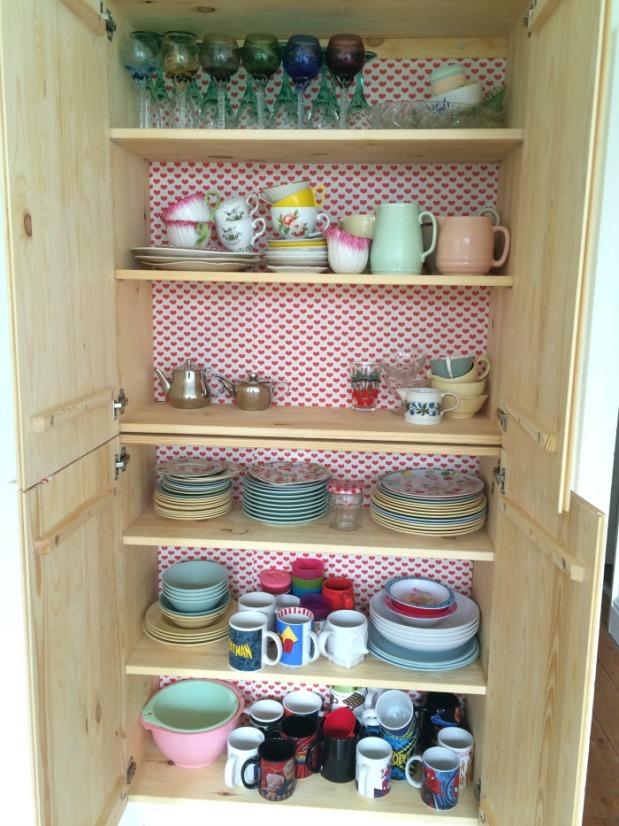 scandi kitchen vintage wallpaper cabinet makeover Ikea Ivar