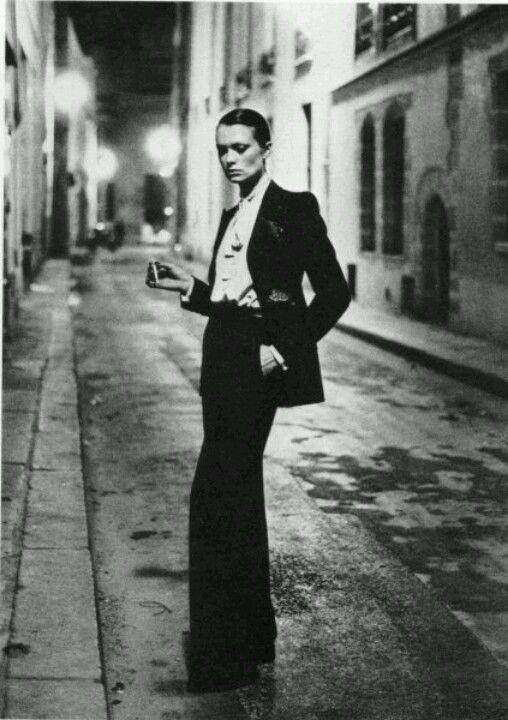 helmut newton photo of ysl tuxedo paris