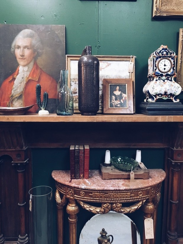 antiques shelf styling