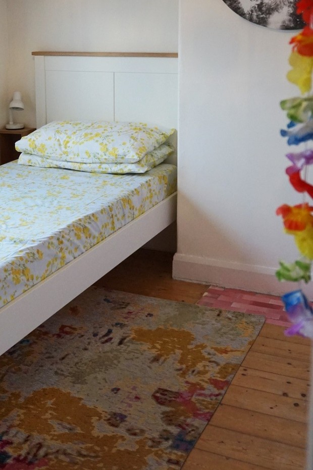 white and colourful little girls room