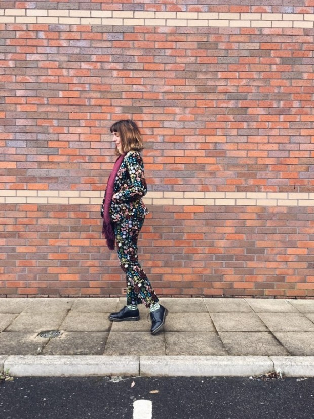 velvet pantsuit ladies suit floral
