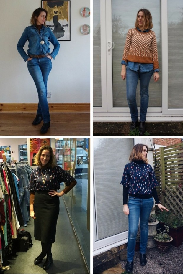 four winter looks from a capsule wardrobe