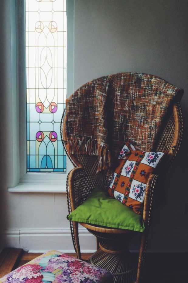 peacock chair victorian window stained glass sticker