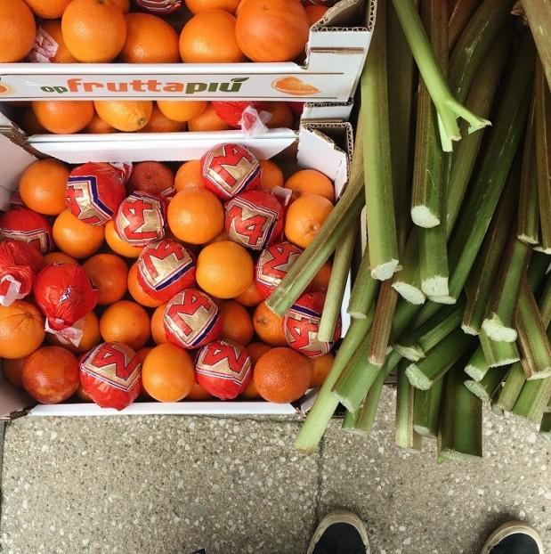 oranges in wrappers and seasonal rhubarb in wales