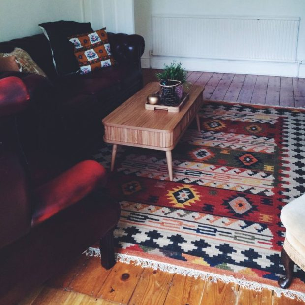 floorboards with kilim bohemian rug