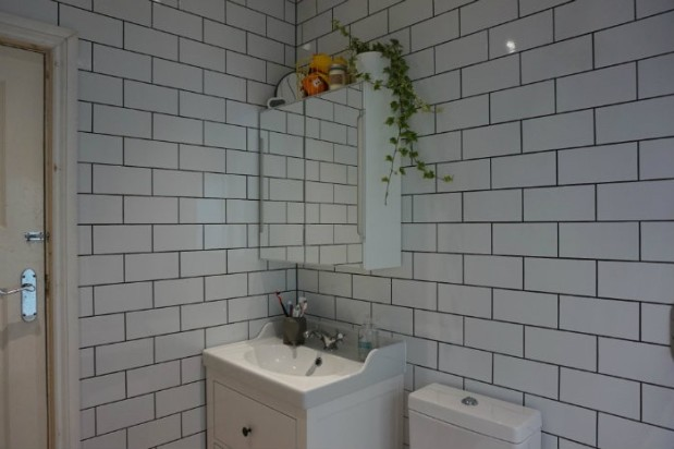 modern vintage white bathroom ikea