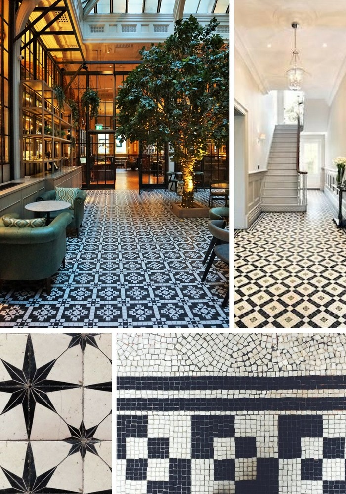 black and white flooring tiles for hallway