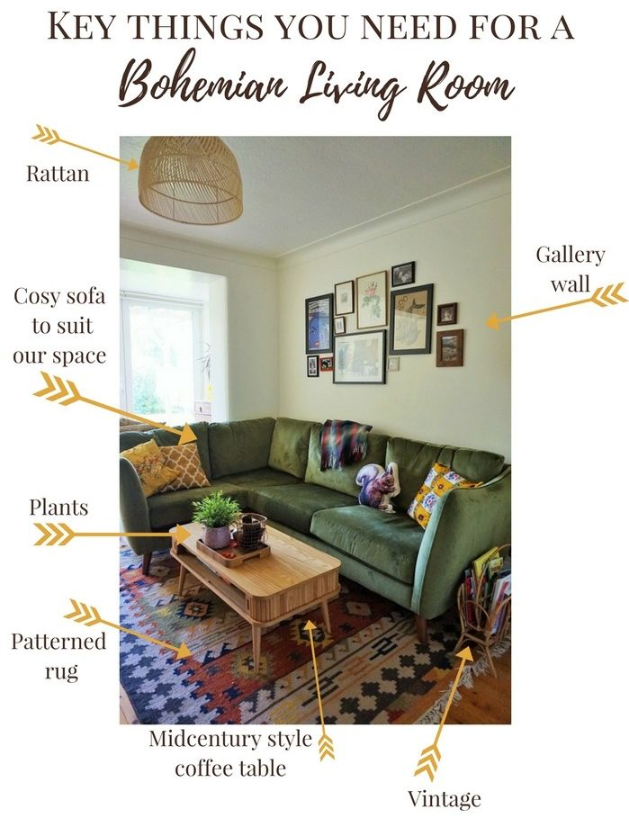 essentials for a bohemian living room patterned rug, velvet sofa, midcentury coffee table, vintage, gallery wall, rattan