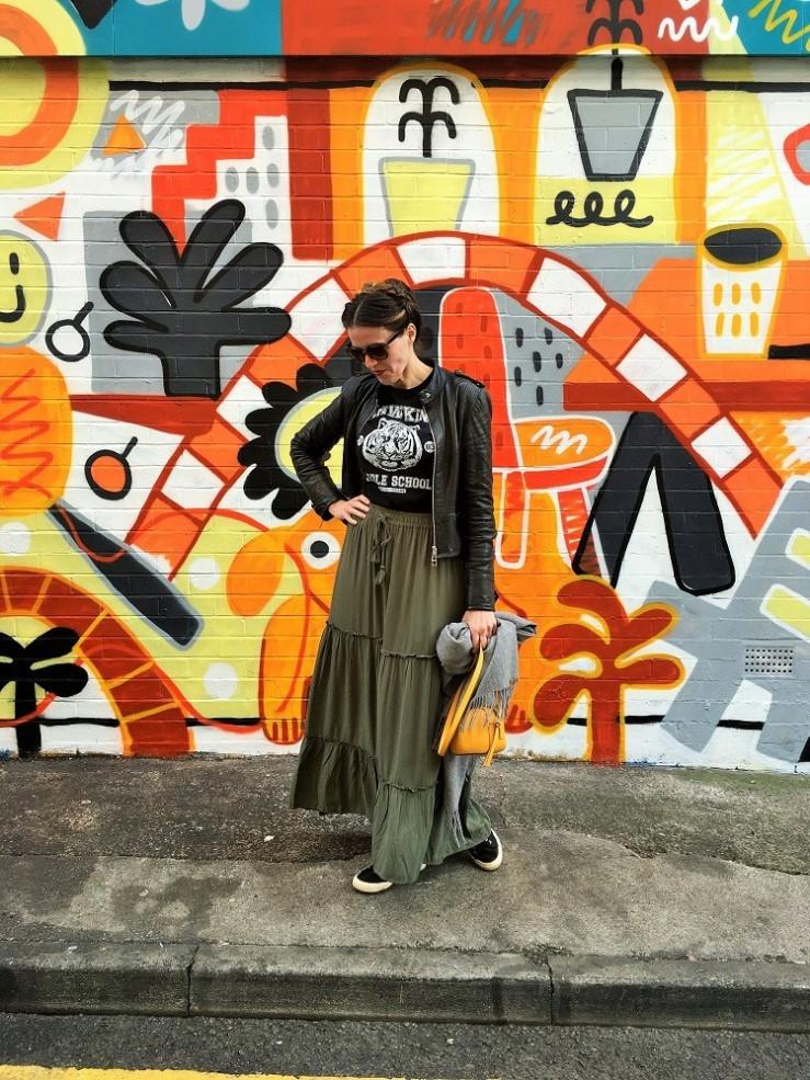 khaki green maxi skirt