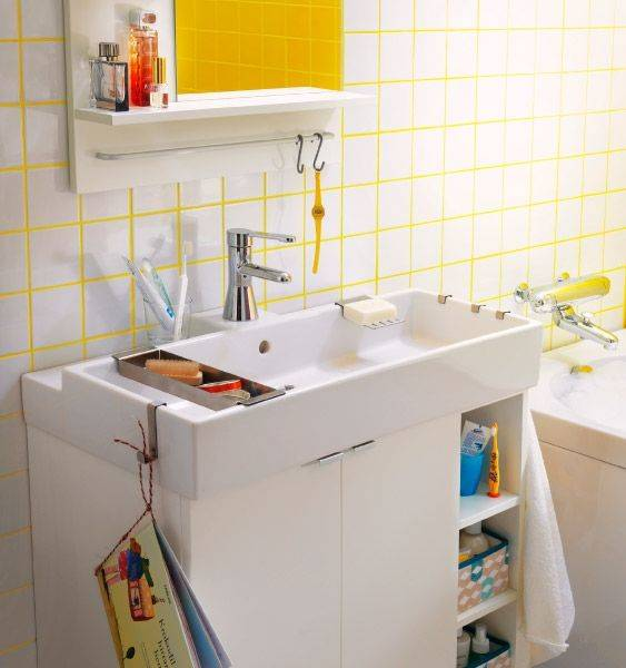 yellow grout in colourful ikea bathroom