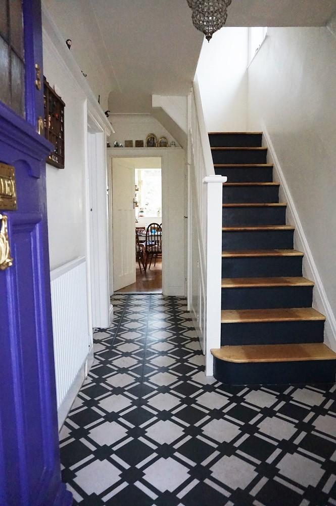 black and white entryway hallway