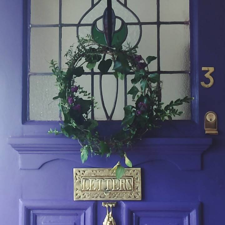 handmade wreath purple victorian door