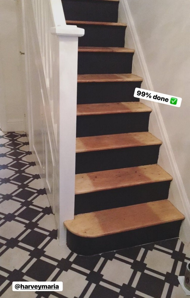 painted charcoal stairs @oldfashionedsus